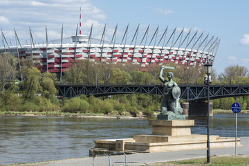 National Stadium and Statue of Mermaid in Warsaw, Poland