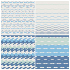 Set of sea wave. Seamless patterns in white and blue colors.