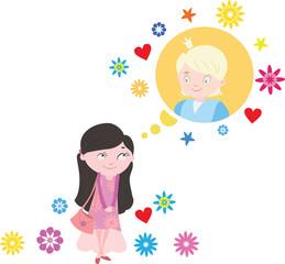 Girl dreams of a boy fun cartoon vector illustration