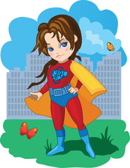 Super Girl fun cartoon vector illustration