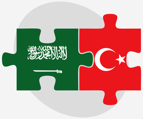 Saudi Arabia and Turkey Flags in puzzle