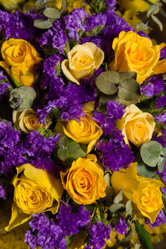 Easter flower bouquet with yellow roses and lavender