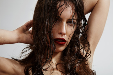 beauty woman with a wet hair