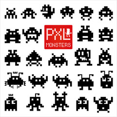 Set of cheerful pixel monsters