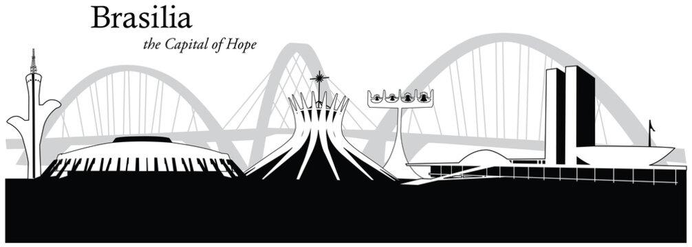 Vector illustration of skyline of Brasilia, Brazil