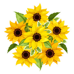 Vector bouquet of sunflowers. Vector illustration.