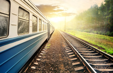 Foto op Canvas Treinstation Moving train