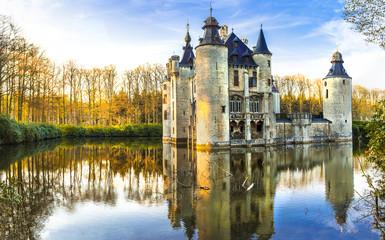 Foto auf Acrylglas Antwerpen fairytale medieval castles of Europe.Belgium, Antwerpen region