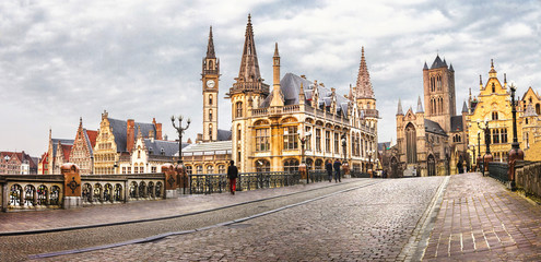 panoramic image of medieval Ghent, Belgium
