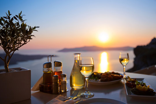 Dinner for two and the sea sunset