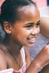 Happy ethiopian girl during a party