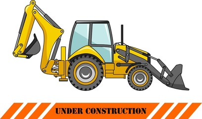 Backhoe loader. Heavy construction machines. Vector illustration