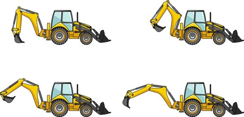 Backhoe loaders. Heavy construction machines. Vector