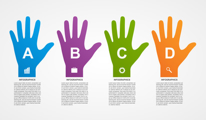 Flat infographics with colorful hands.