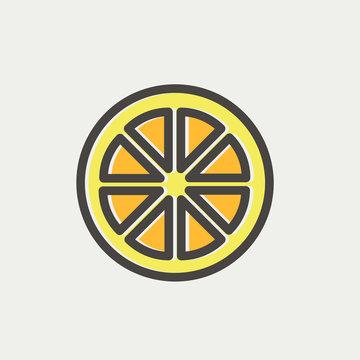 Sliced of lemon thin line icon