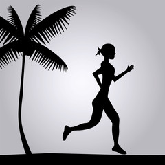 illustration of a girl running on the beach