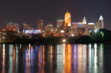 Dark Night Ohio River Cincinnati Downtown City Skyline