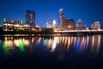 Colorado River Flows through Austin Texas City Center Downtown S
