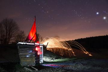 Foto auf Leinwand Fantasie-Landschaft Light sailing