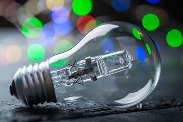 Vintage halogen bulb with color lights