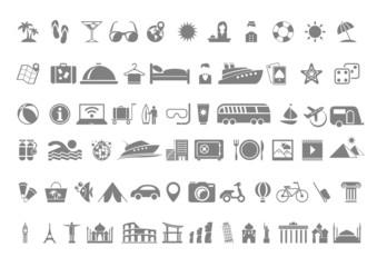 Travel flat icon set