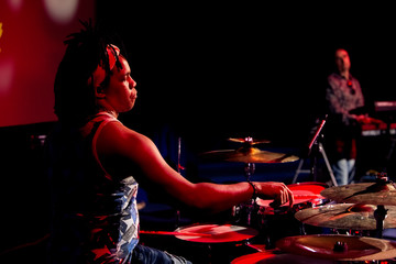 Wall Mural - Drummer playing at the concert