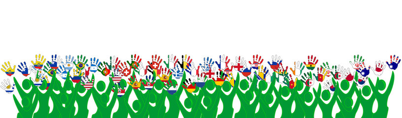 hands national flags world cup 2014