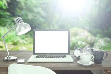 3D illustration laptop on table, Workspace on nature outdoor