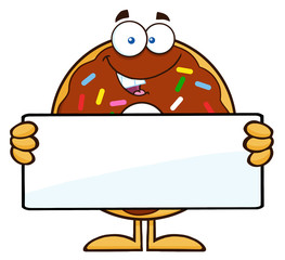 Chocolate Donut Character With Sprinkles Holding a Blank Sign