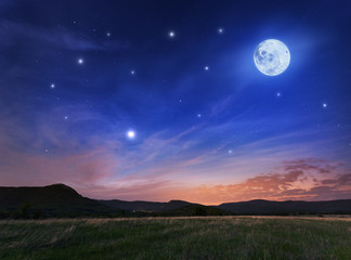 Poster Bleu fonce Beautiful night sky with the full moon and stars