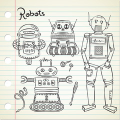 set of vintage robot in doodle style
