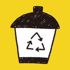 recycle trash can doodle drawing
