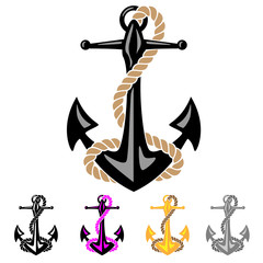 Anchor with Rope Vector Illustrations