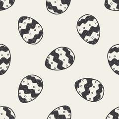 Easter egg doodle seamless pattern background