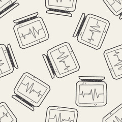 ECG doodle drawing seamless pattern background