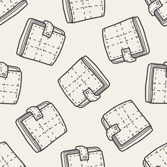 wallet doodle drawing seamless pattern background