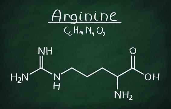 Chemical formula of Arginine on a blackboard