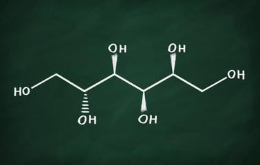 Chemical formula of Sorbitol on a blackboard