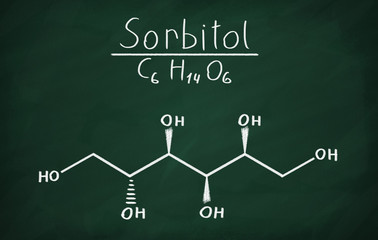 Chemical formula of Sorbitol on a blackboard