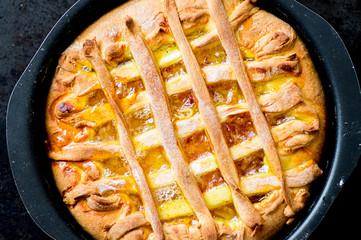 Orange cake in baking dish