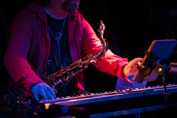 saxophone player in concert
