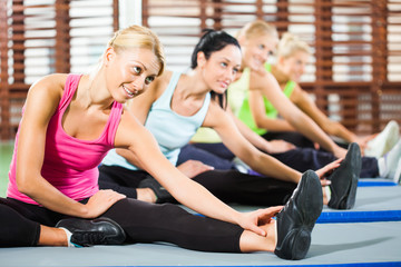 Young women exercising in gym, stretching bodies