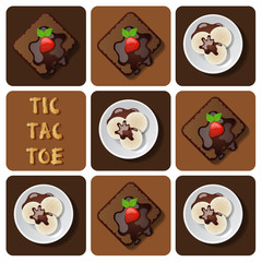 Tic-Tac-Toe of ice cream and brownie