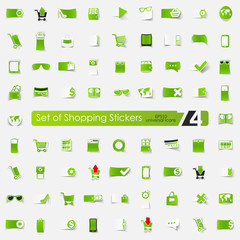 Set of shopping stickers
