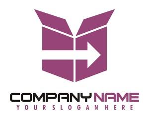 box cardboard purple logo image vector