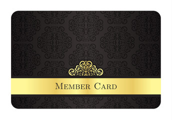 Luxury golden member card with classic vintage pattern