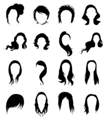 Hair wig icons set