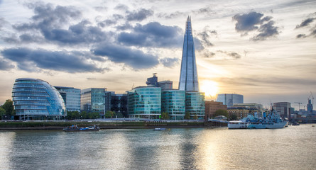 London Cityscape at sunset HDR