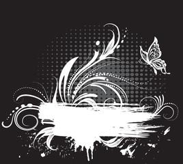 Grunge black and white banner
