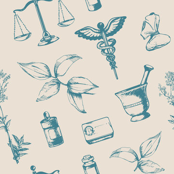 Seamless pattern of hand-drawn elements of pharmacy. Vector.